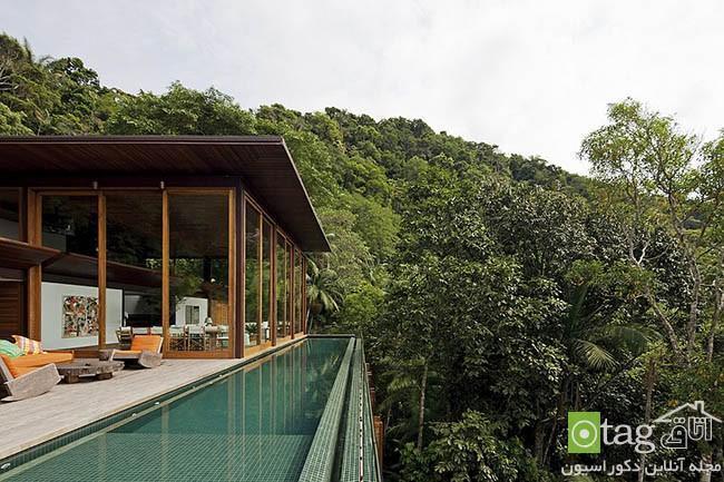نمونه ای بسیار زیبا از طراحی ویلای جنگلی با مصالح طبیعی